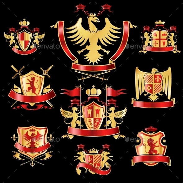 Heraldic Labels Gold and Red