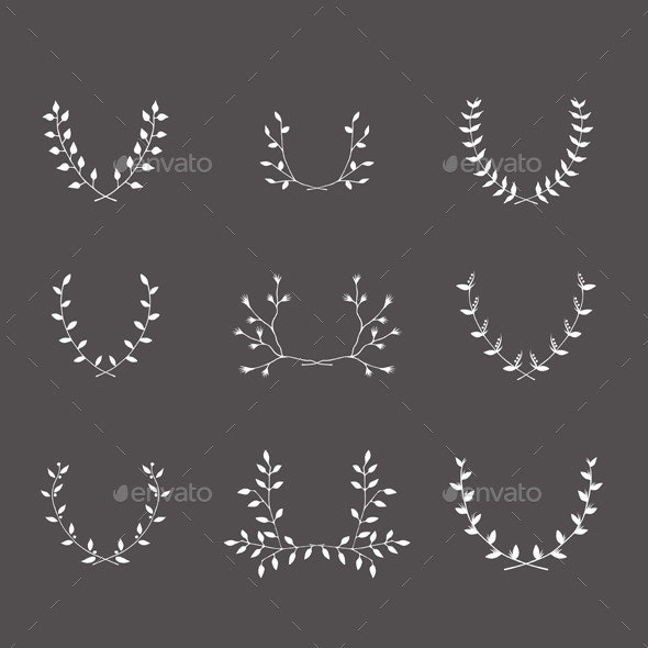 Hand-Drawn Silhouettes Brackets Branches Set - Borders Decorative
