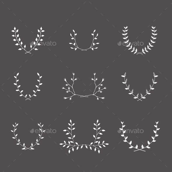 Hand-Drawn Silhouettes Brackets Branches Set