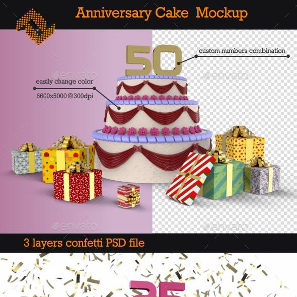 Anniversary Cake Mockup