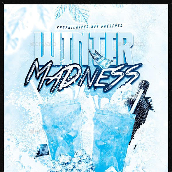 Winter Madness Drinks Party | Flyer Template PSD