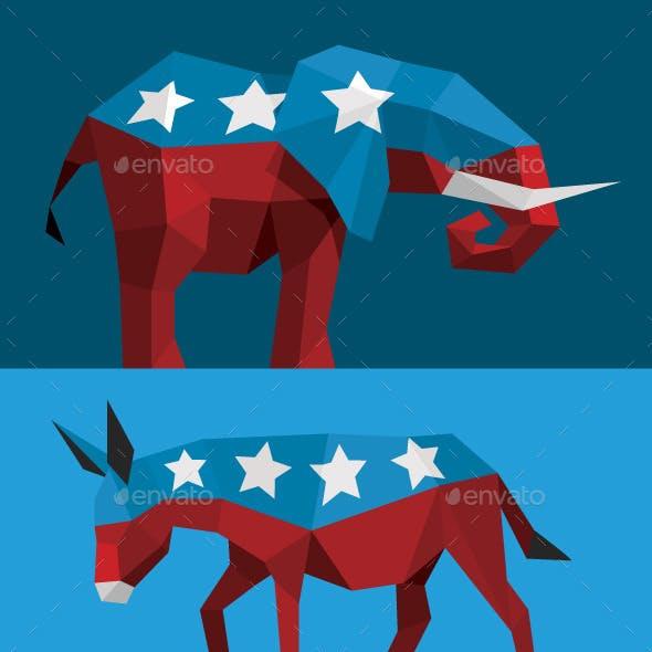 Geometric Political Elephant and Donkey