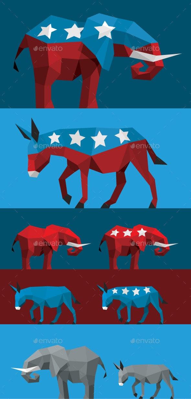 Geometric Political Elephant and Donkey - Animals Characters