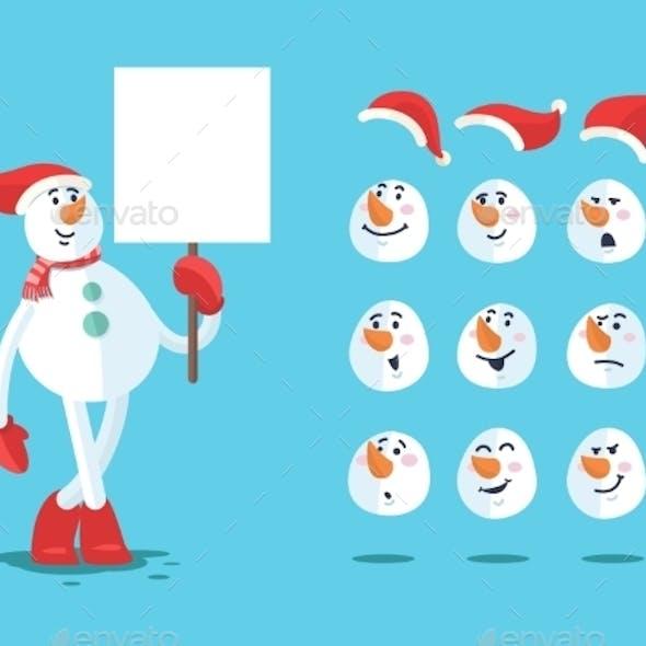 Funny Snowman. Cartoon Vector Set