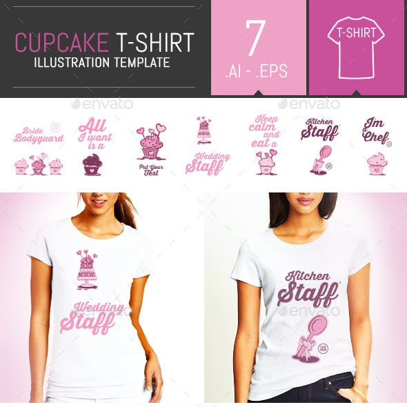 7 Cupcake Illustration T-Shirt Templates