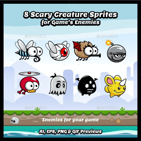 8 Scary Creatures Sprite Sheets