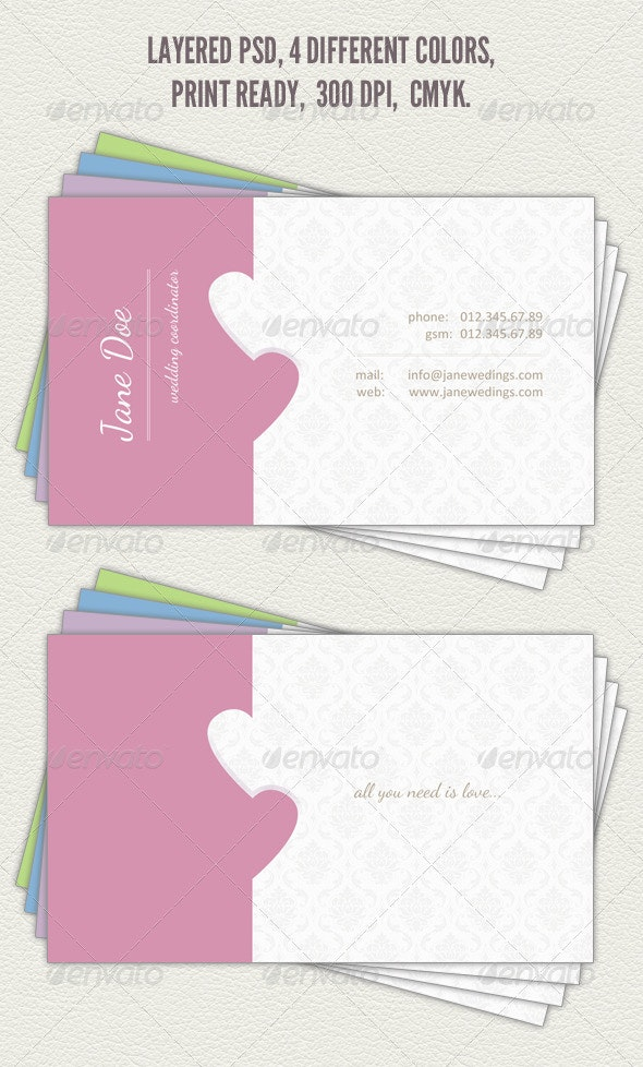 Wedding Coordinator Business Card - Industry Specific Business Cards