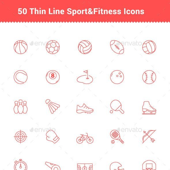 50 Thin Line Stroke Sport and Fitness Icons