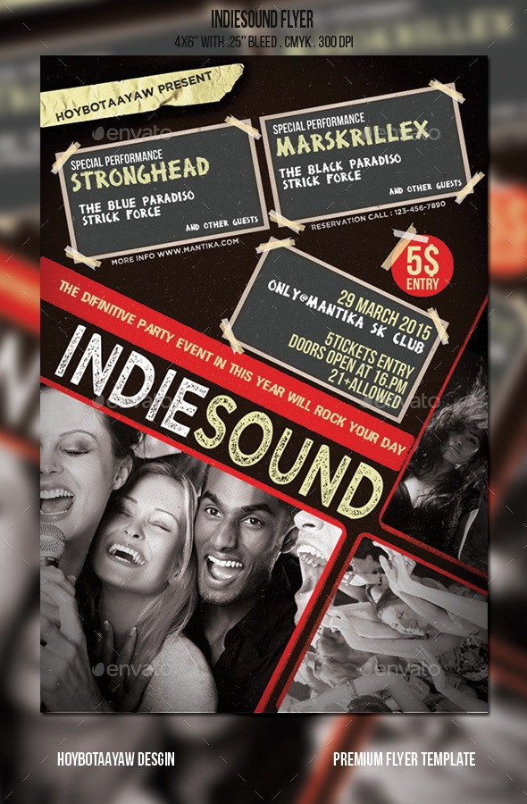 IndieSound Flyer - Clubs & Parties Events