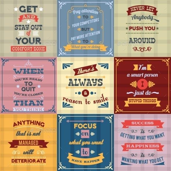 Success Quotes Set Colored