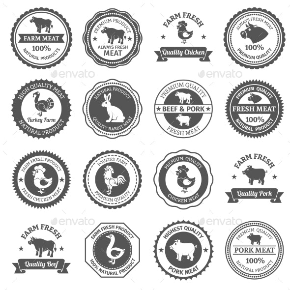 Meat Labels Set - Food Objects