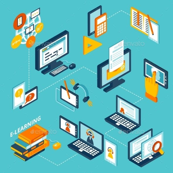 E-learning Icons Isometric