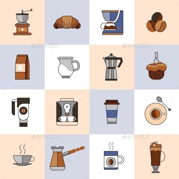 Coffee Icons Flat Line Set