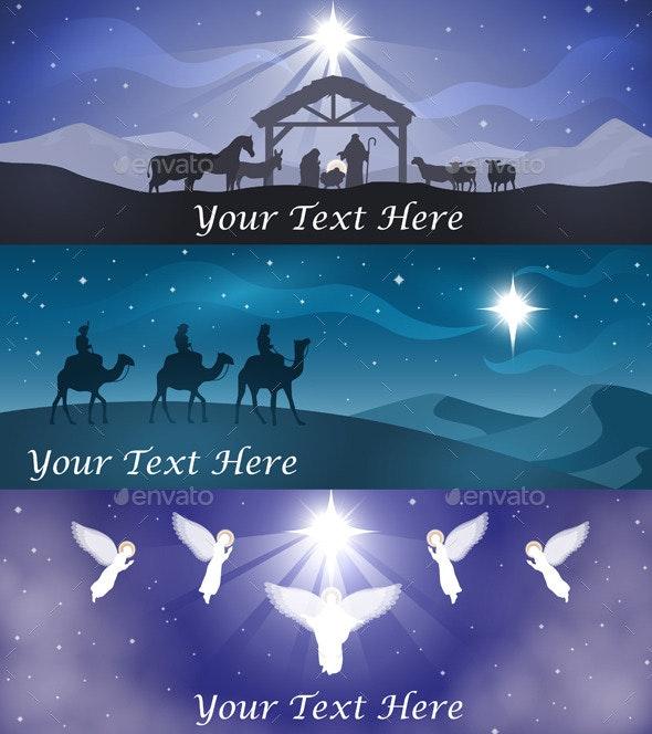 Christmas Nativity Banner Set - Web Elements Vectors
