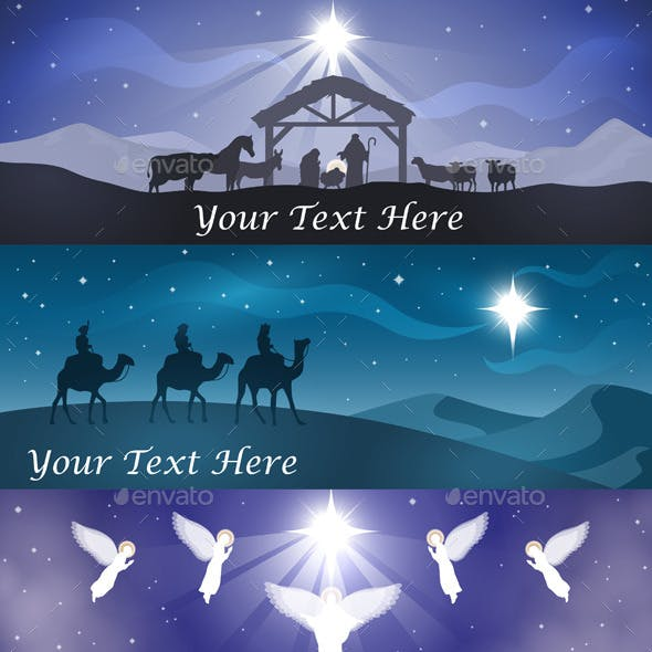 Christmas Nativity Banner Set