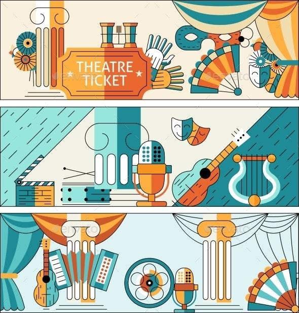 Theatre Flat Line Banner Set - Borders Decorative