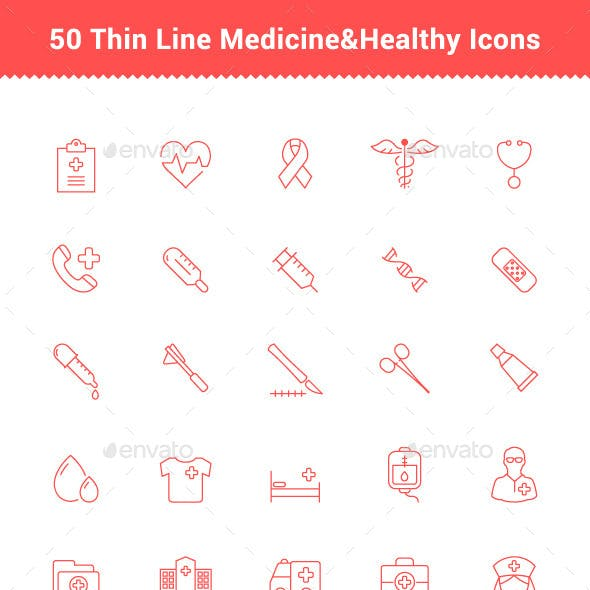 50 Thin Line Stroke Medicine and Healthy Icons