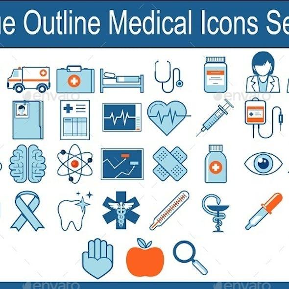 Blue Outline Medical Icons Set 2