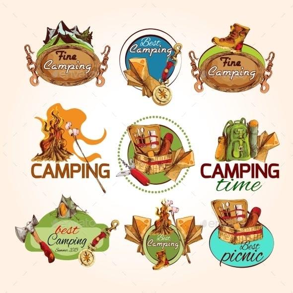 Camping Sketch Emblems