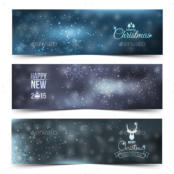Set of Colorful Abstract Christmas Banners