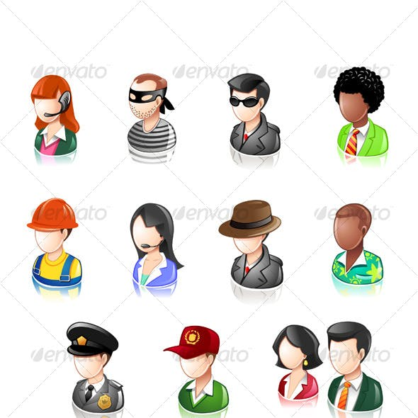 Various Profession People Glossy IconSet