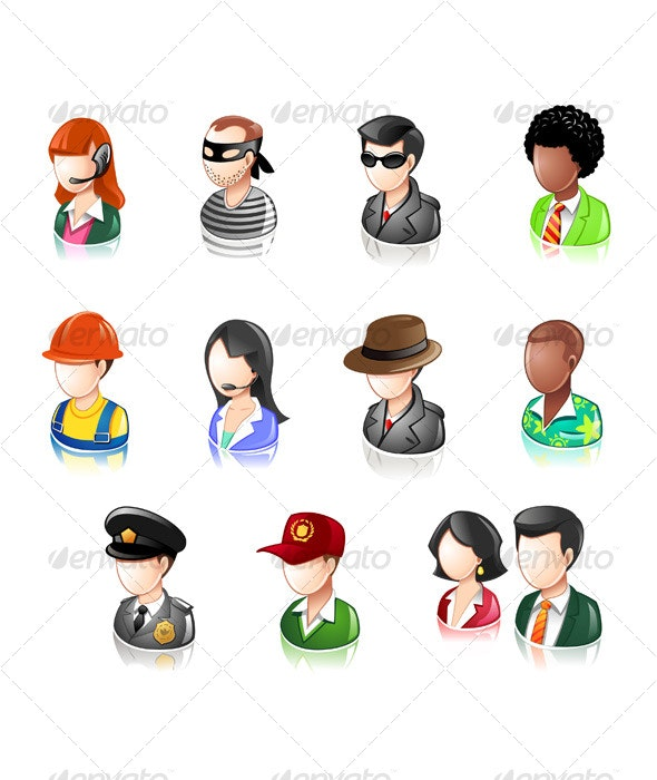 Various Profession People Glossy IconSet - People Characters
