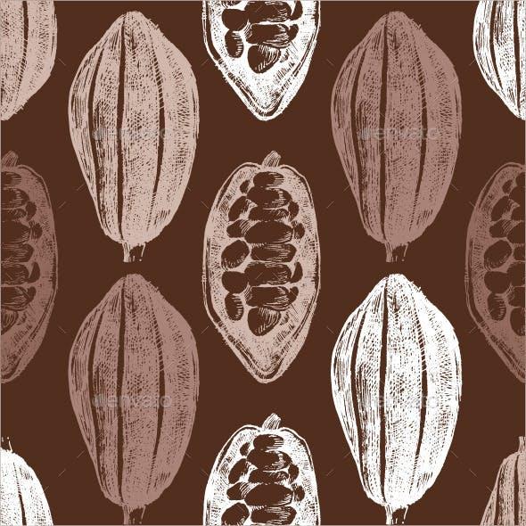 Hand Drawn Cocoa Beans Seamless