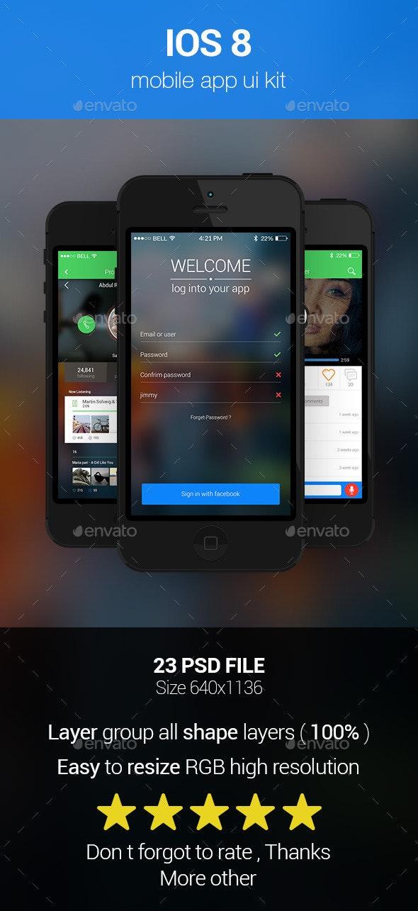 IOS 8 Mobile App Kit - User Interfaces Web Elements