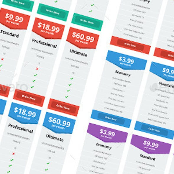 Flat Design Web Pricing Tables