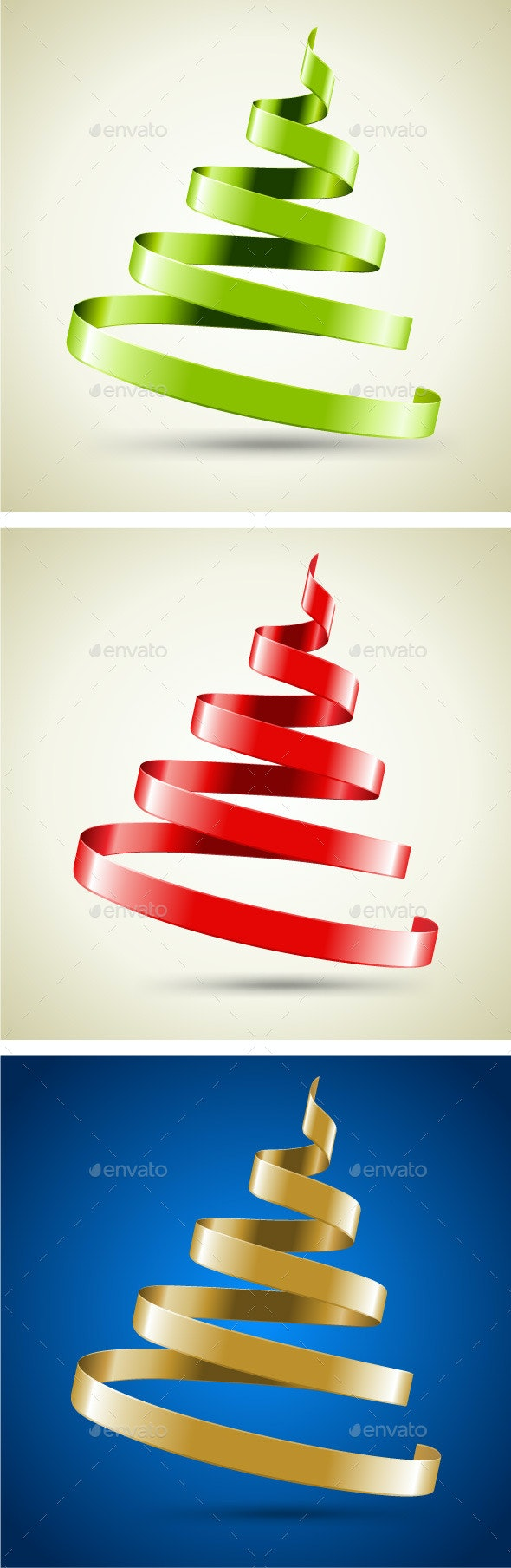 Christmas Tree Made of Ribbon - Christmas Seasons/Holidays