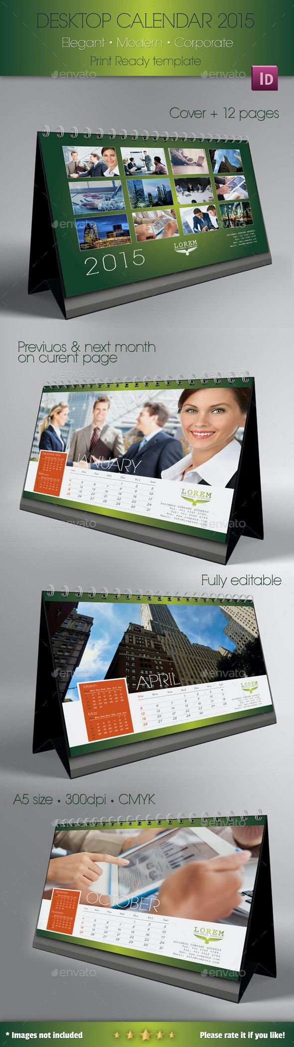 Desk Calendar template 2015 - Print Templates