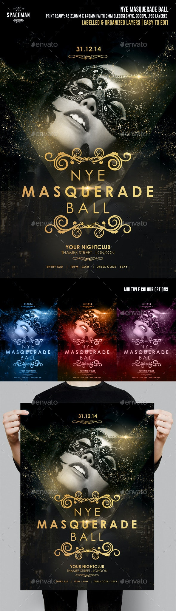 NYE Masquerade Ball Flyer - Clubs & Parties Events