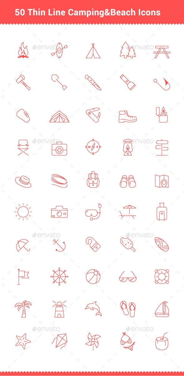 50 Thin Line Stroke Camping and Beach Icons