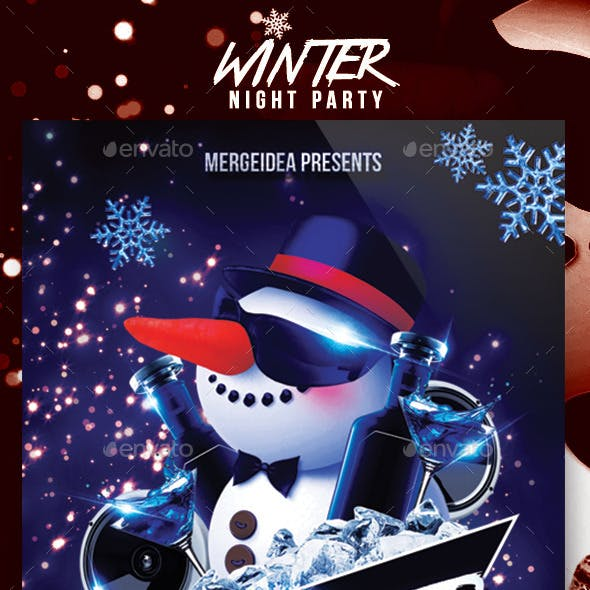 Winter Night Party Flyer