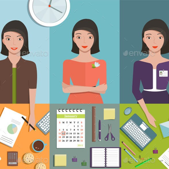 Office Manager Woman Working in Different Poses
