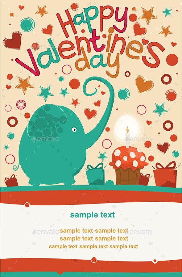 Happy Valentines Day Greeting Elephant - Valentines Seasons/Holidays