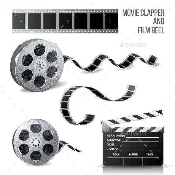 Movie Clapper and Film Reel - Man-made Objects Objects