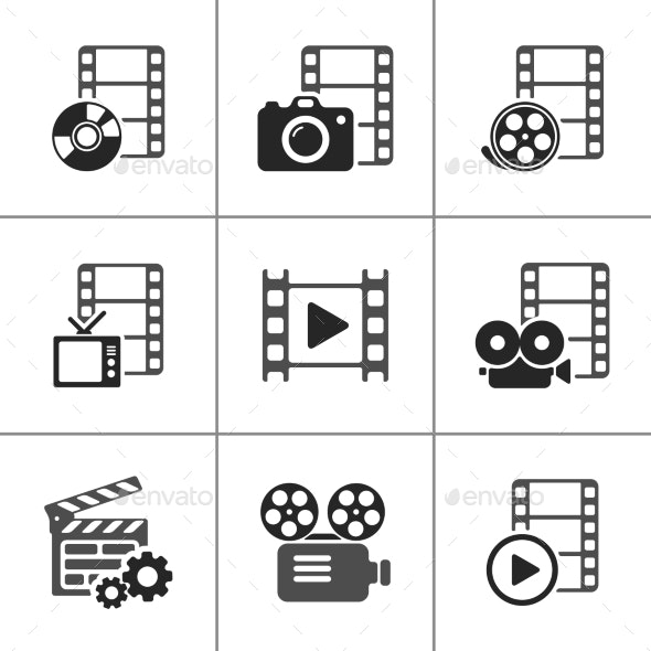 Film Icon Pack on White. Vector Elements