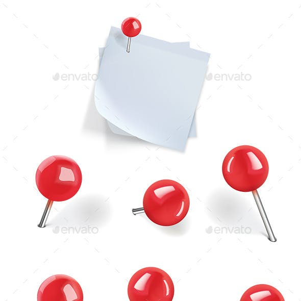 Set of Red Pushpins
