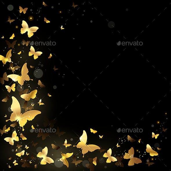Frame of Golden Butterflies