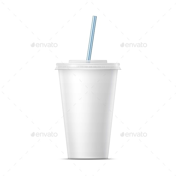 White Paper Soda Cup Template - Food Objects