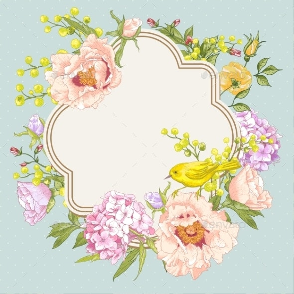 Spring Vintage Floral Bouquet with Birds - Patterns Decorative