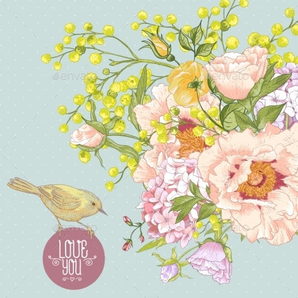 Spring Floral Bouquet with Birds Greeting Card - Patterns Decorative