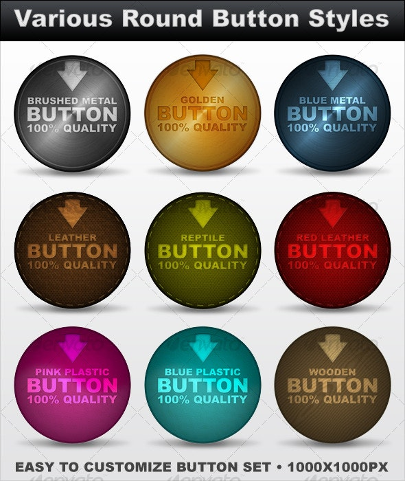 Various Round Button Styles - Buttons Web Elements