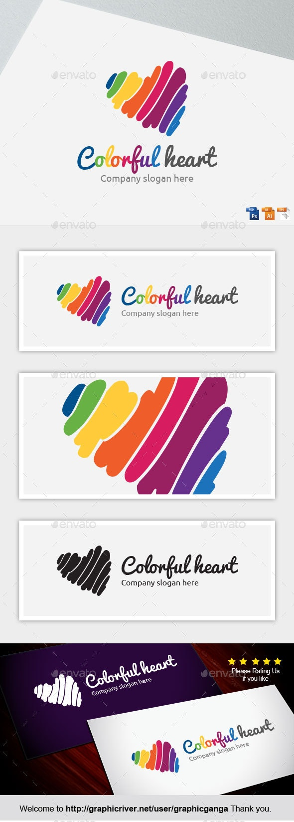 Colorful heart - Abstract Logo Templates