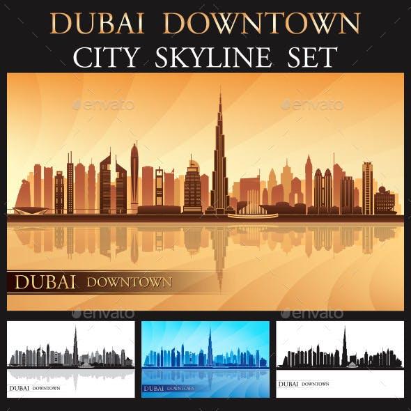 Dubai Downtown Skyline Silhouettes Set