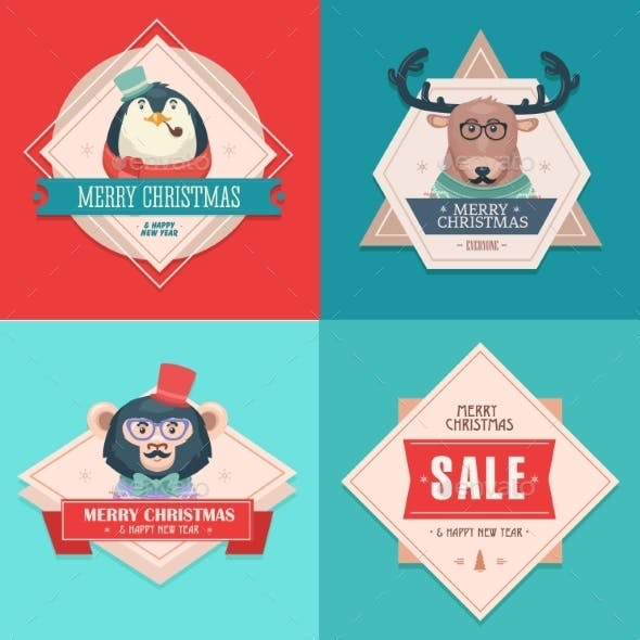 Christmas Hipster Animals Sale Card