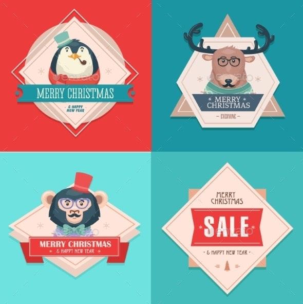 Christmas Hipster Animals Sale Card - Christmas Seasons/Holidays