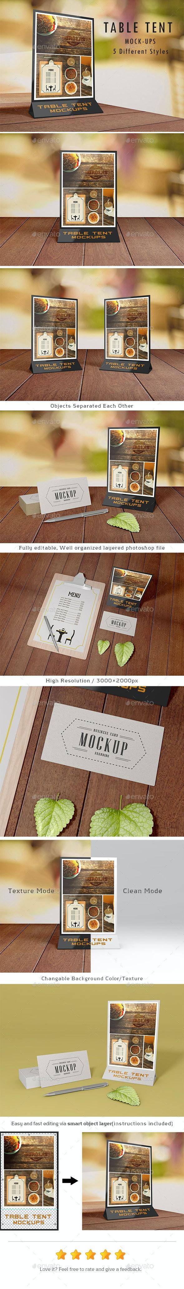 Table Tent Mock-Ups - Print Product Mock-Ups