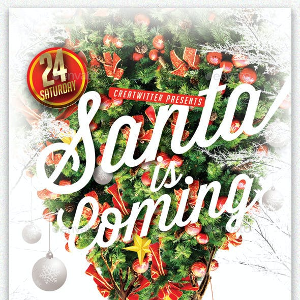 Santa Is Coming Party Flyer